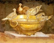 Doves Perched on the Edge of a Basin