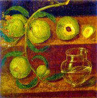 Branch of Peaches and a Glass Jar