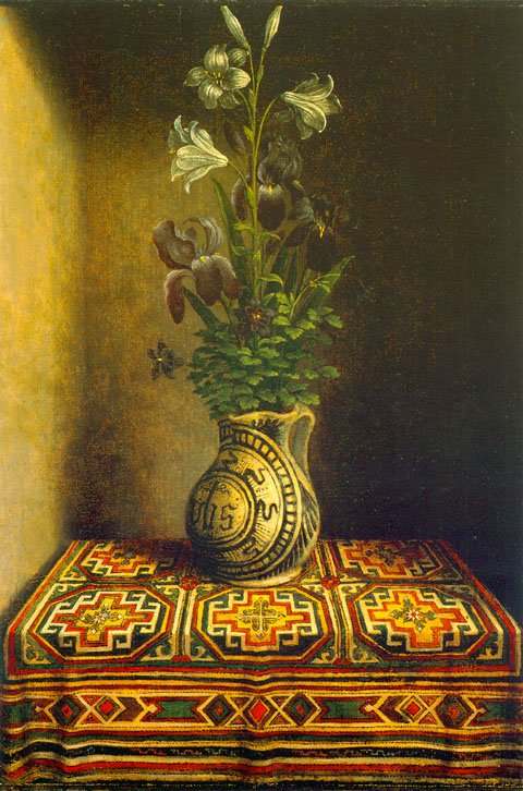 Majolica Vase with Flowers