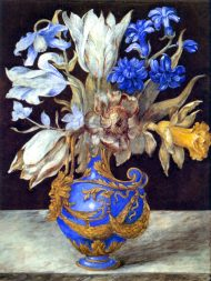 Bouquest of Flowers in a Blue Vase