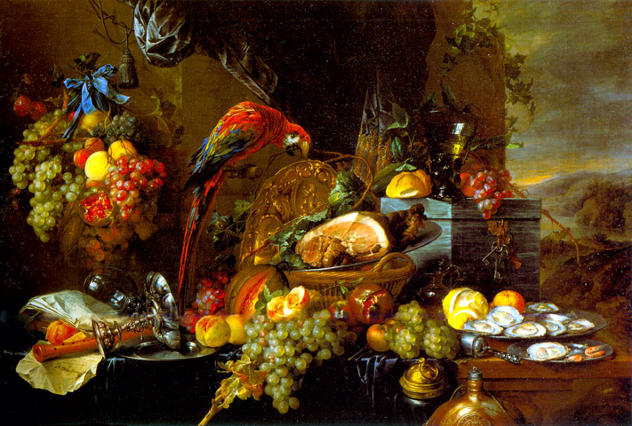 Sumptuous Still Life with Parrot