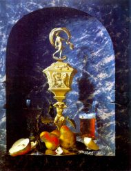 Relief Chalice, Fruit and Glasses in a Stone Niche