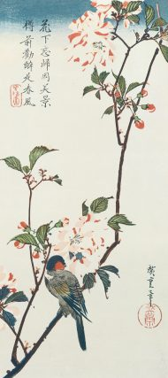 Double-Petaled Cherry Blossoms and Small Birds