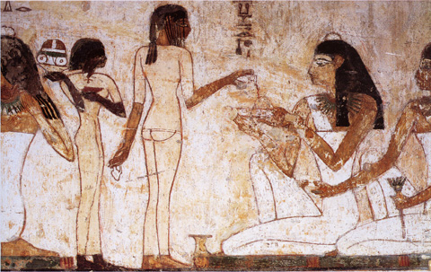 Banquet scene from the tomb of Rekhmire