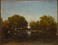 Théodore Rousseau (French, Paris 1812–1867 Barbizon) The Pool (Memory of the Forest of Chambord), 1839 French,  Oil on wood; 12 3/4 x 16 in. (32.4 x 40.6 cm) The Metropolitan Museum of Art, New York, Robert Lehman Collection, 1975 (1975.1.204) http://www.metmuseum.org/Collections/search-the-collections/459114